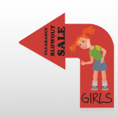 Girls 30 Floor Decal Curved Arrow Left