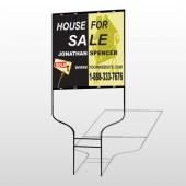 Gold Puzzle House 864 Round Rod Sign