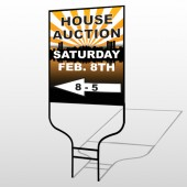 Auction Left Arrow 716 Round Rod Sign