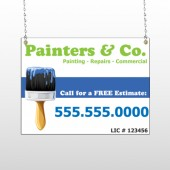 Blue Paint Brush 305 Window Sign