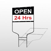 Open 24 Hours 84 Round Rod Sign